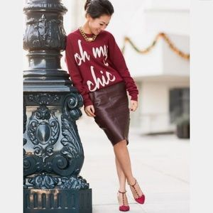 Dresses & Skirts - Burgundy faux leather pencil skirt